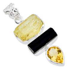 925 sterling silver 14.79cts natural scapolite tourmaline rough pendant r56656