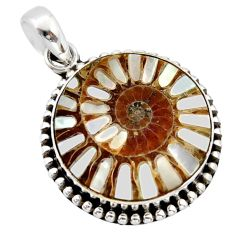 925 sterling silver 16.19cts natural shell in ammonite pendant jewelry r40372
