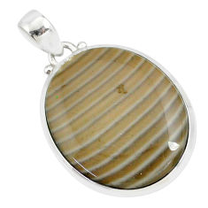 925 sterling silver 18.88cts natural striped flint ohio handmade pendant r81079