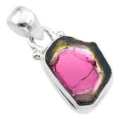925 sterling silver 6.97cts natural watermelon tourmaline slice pendant t46370