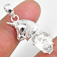 925 sterling silver 8.42cts natural white herkimer diamond horse pendant r63073