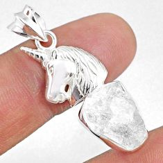925 sterling silver 9.39cts natural white herkimer diamond horse pendant r69696
