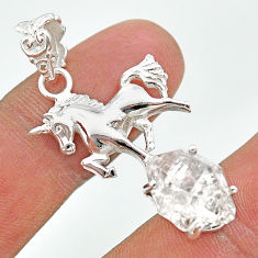 925 sterling silver 8.44cts natural white herkimer diamond horse pendant t29664