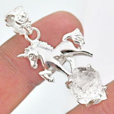 925 sterling silver 8.22cts natural white herkimer diamond horse pendant t29676