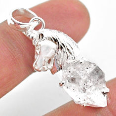 925 sterling silver 7.40cts natural white herkimer diamond horse pendant t49043
