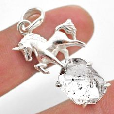 925 sterling silver 7.12cts natural white herkimer diamond horse pendant t49046