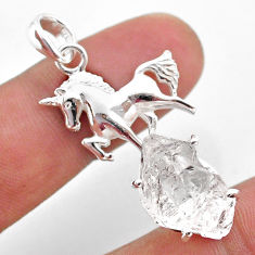 925 sterling silver 9.07cts natural white herkimer diamond horse pendant t49056