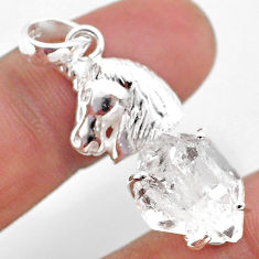 925 sterling silver 7.83cts natural white herkimer diamond horse pendant t49072