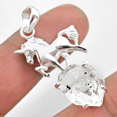 925 sterling silver 7.83cts natural white herkimer diamond horse pendant t49077