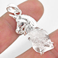 925 sterling silver 10.04cts natural white herkimer diamond horse pendant t49080