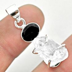 925 sterling silver 11.16cts natural white herkimer diamond onyx pendant t50116