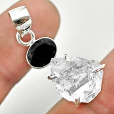 925 sterling silver 10.73cts natural white herkimer diamond onyx pendant t50147