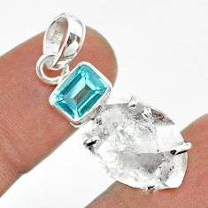925 sterling silver 13.08cts natural white herkimer diamond topaz pendant t49503
