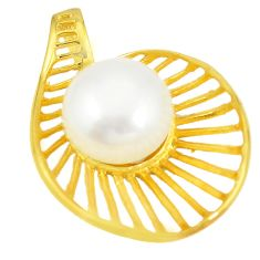 925 sterling silver natural white pearl 14k gold pendant jewelry c24107