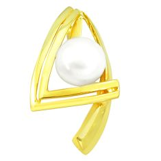 925 sterling silver 12.71cts natural white pearl 14k gold pendant jewelry c24124