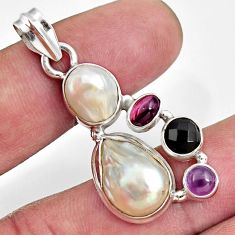 925 sterling silver 12.96cts natural white pearl amethyst garnet pendant d43948
