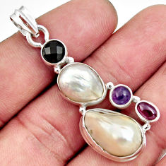 Clearance Sale- 925 sterling silver 16.46cts natural white pearl amethyst garnet pendant d43980