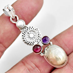 Clearance Sale- 925 sterling silver 12.34cts natural white pearl amethyst pendant jewelry d43940