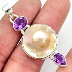 925 sterling silver 22.59cts natural white pearl amethyst pendant jewelry d47417