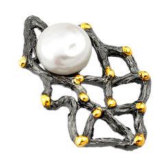 925 sterling silver natural white pearl black rhodium 14k gold pendant c24192