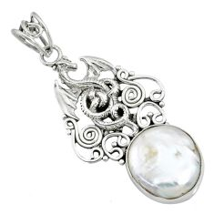 925 sterling silver 14.12cts natural white pearl dragon pendant jewelry r72854