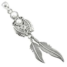 925 sterling silver 3.24cts natural white pearl dreamcatcher pendant r67713