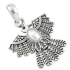 925 sterling silver 1.19cts natural white pearl eagle charm pendant r67657