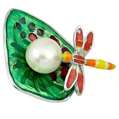 925 sterling silver natural white pearl enamel dragonfly pendant jewelry c16940