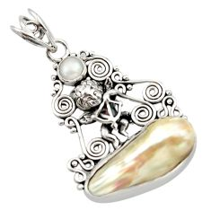 925 sterling silver 11.65cts natural white pearl fancy pendant jewelry d46708
