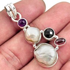 Clearance Sale- 925 sterling silver 14.86cts natural white pearl garnet pendant jewelry d43966
