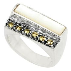 925 sterling silver natural white pearl marcasite ring jewelry size 6 c17268