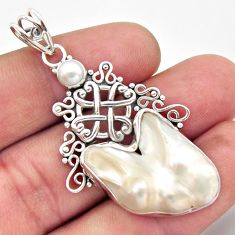 925 sterling silver 18.51cts natural white pearl pendant jewelry d46740