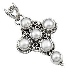 925 sterling silver 5.38cts natural white pearl round holy cross pendant d44769