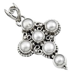 925 sterling silver 5.52cts natural white pearl round holy cross pendant d44777