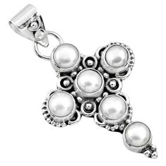 925 sterling silver 5.84cts natural white pearl round holy cross pendant r65032