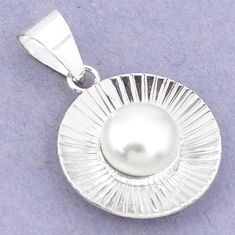 925 sterling silver 5.22cts natural white pearl round pendant jewelry c23796