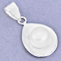 925 sterling silver 4.87cts natural white pearl round pendant jewelry c23878