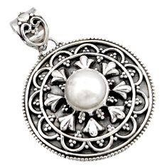 925 sterling silver 3.06cts natural white pearl round pendant jewelry d45978