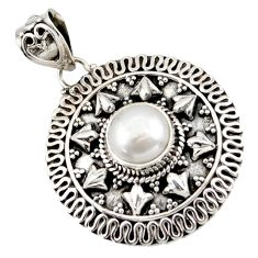 925 sterling silver 3.13cts natural white pearl round pendant jewelry d45980