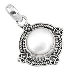 925 sterling silver 5.23cts natural white pearl round pendant jewelry r57644