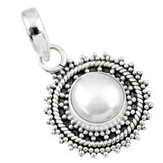 925 sterling silver 3.31cts natural white pearl round pendant jewelry r57674