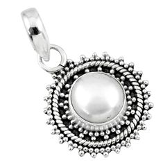 925 sterling silver 3.17cts natural white pearl round pendant jewelry r57690