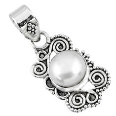 925 sterling silver 3.03cts natural white pearl round pendant jewelry r57714