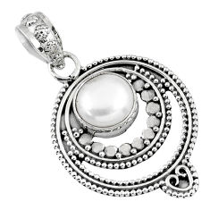 925 sterling silver 3.01cts natural white pearl round pendant jewelry r57731