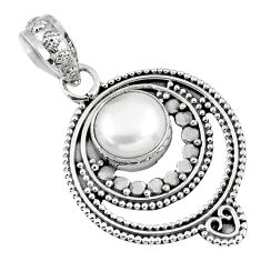 925 sterling silver 3.01cts natural white pearl round pendant jewelry r57733