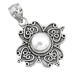 925 sterling silver 3.19cts natural white pearl round pendant jewelry r57773