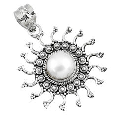 925 sterling silver 3.35cts natural white pearl round pendant jewelry r57775