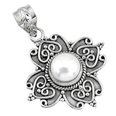 925 sterling silver 3.36cts natural white pearl round pendant jewelry r57797