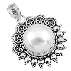 925 sterling silver 9.27cts natural white pearl round pendant jewelry r57815