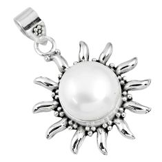 925 sterling silver 7.66cts natural white pearl round pendant jewelry r57835
